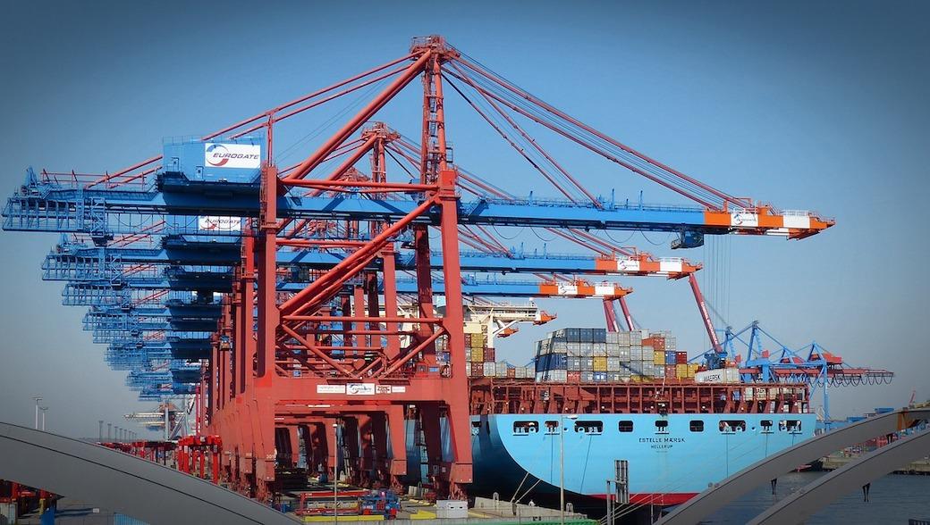 Container, Hamburg, Export, Import.