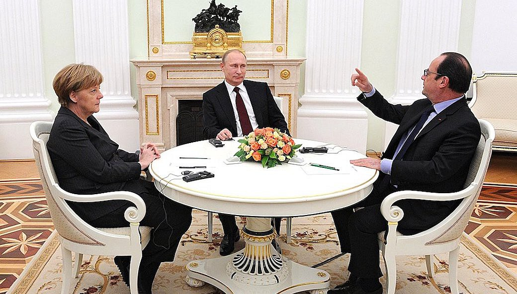 Vladimir Putin met with Federal Chancellor of Germany Angela Merkel and President of France Francois Hollande at the Kremlin to discuss solutions to the situation in southeast Ukraine.