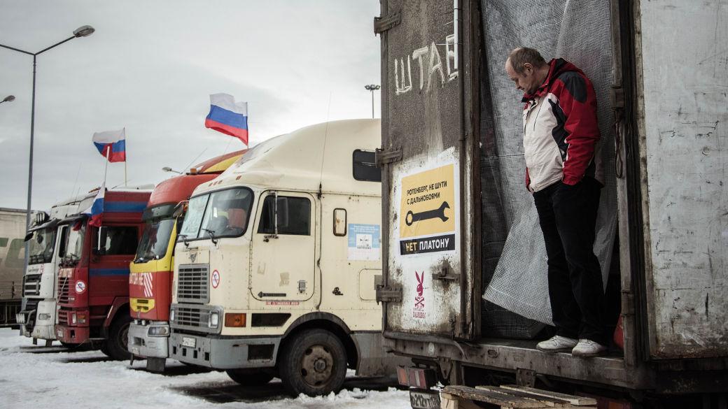 Protest von LKW-Fahrern in Russland