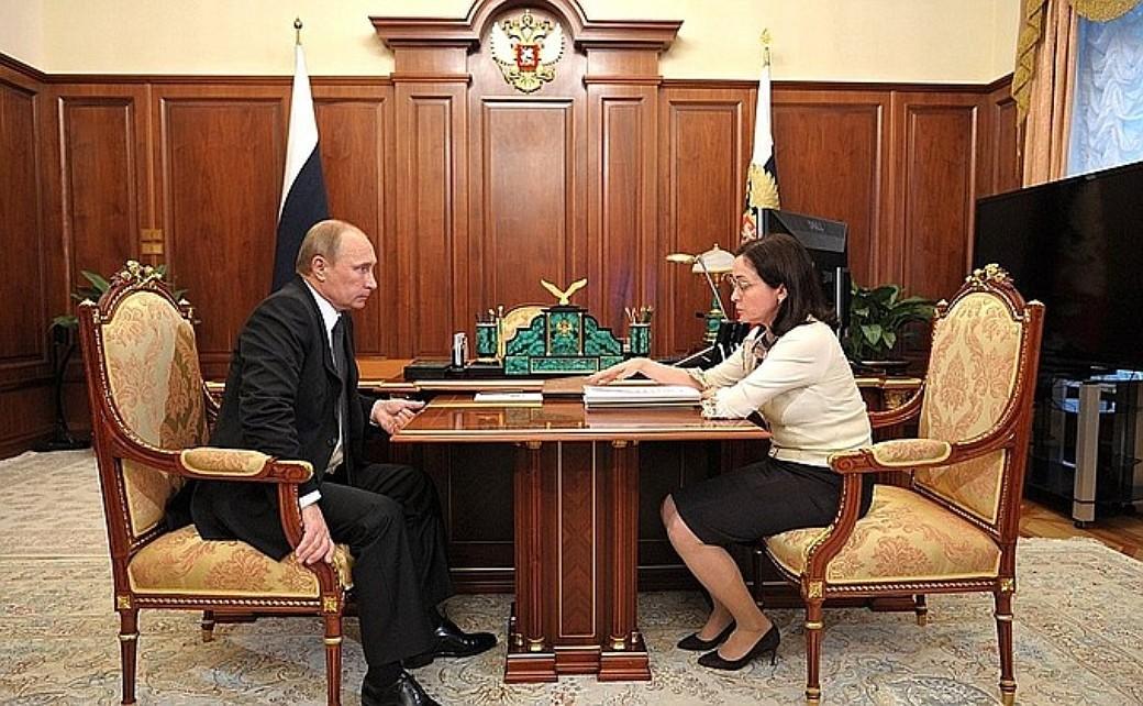 Präsident Wladimir Putin und Zentralbank-Chefin Elwira Nabiullina.