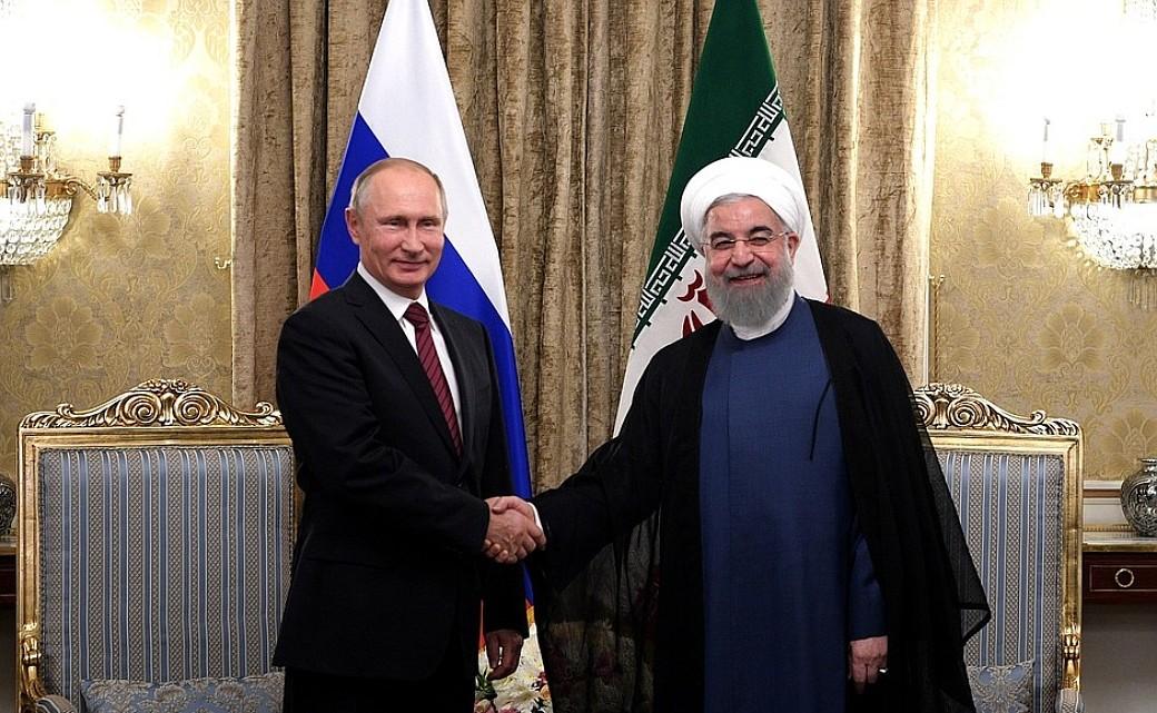 Russischer Präsident Wladimir Putin und Iranischer Präsident Hassan Rohani
