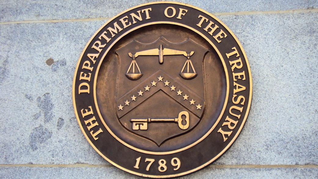 Wappen. Finanzministerium der USA