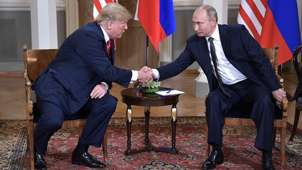 USA Präsident Donald Trump beim Treffen mit Russland Präsident Wladimir Putin in Helsinki