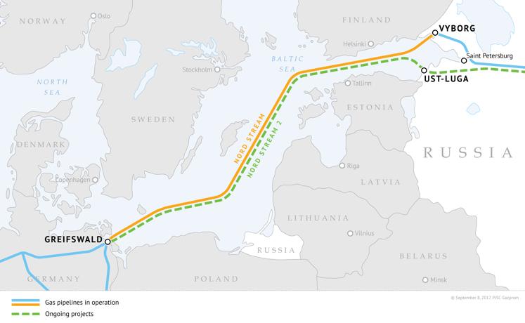 Karte: Nord Stream 2 - Verlegung der Rohre zwischen Russland und Deutschland