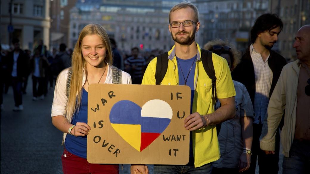 Kremlkritische Demonstrationen gegen die Ukrainepolitik der russischen Regierung am 21. September 2014 in Moskau
