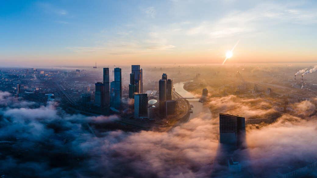Moskau City Sonne