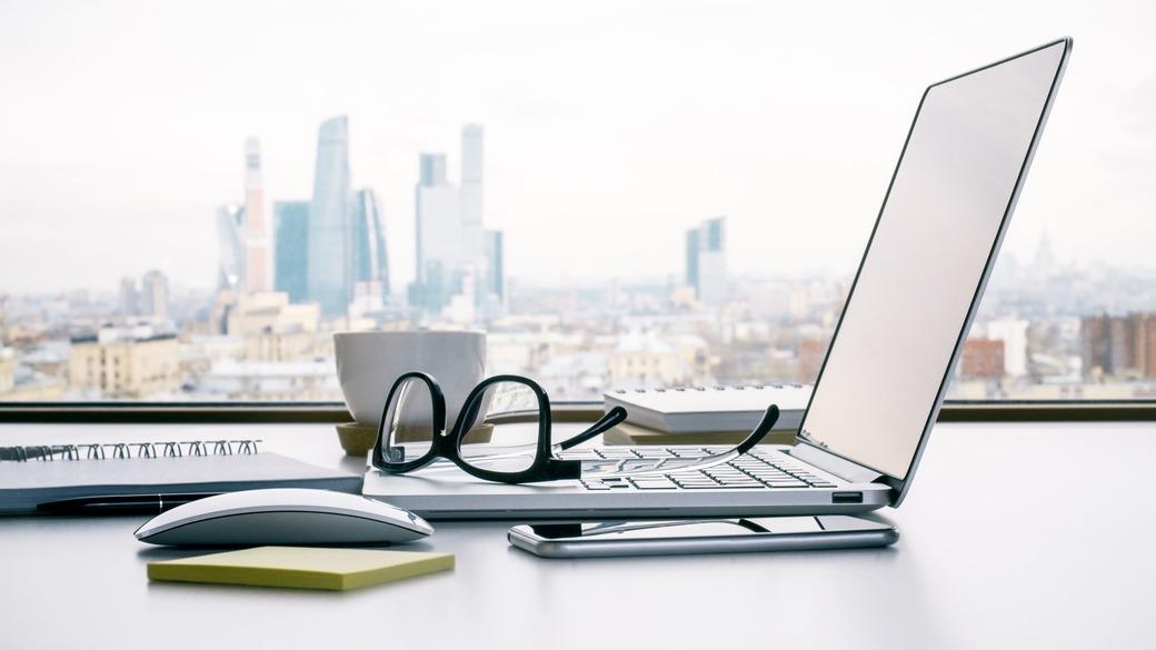 Schreibtisch Arbeitsplatz Moskau City