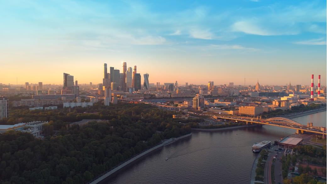 Moskau City Sonnenschein