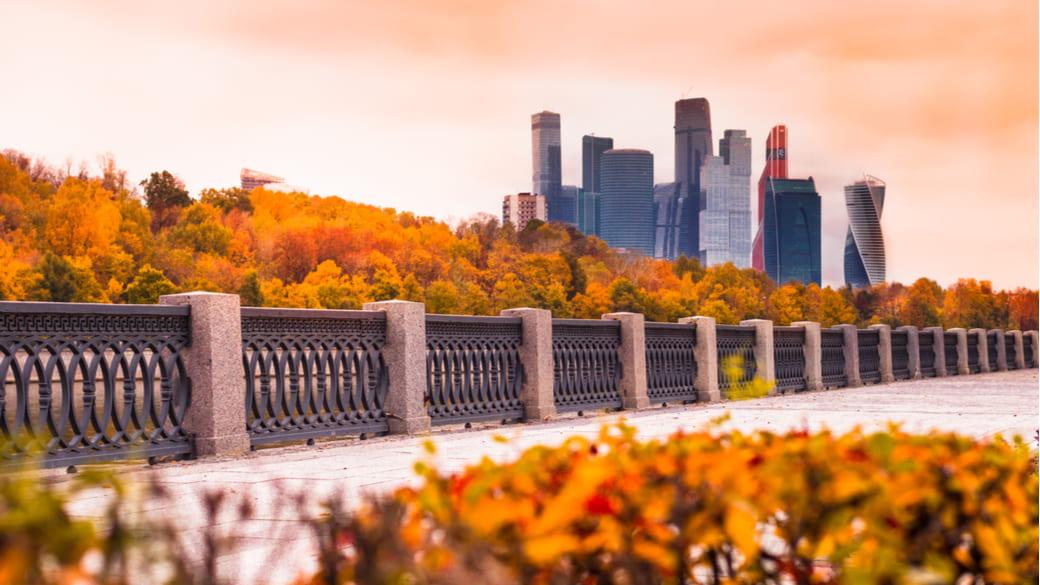 Moskau City im Herbst